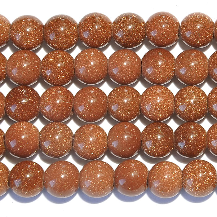 Goldstone 8mm Round Large Hole Beads - 8 Inch Strand
