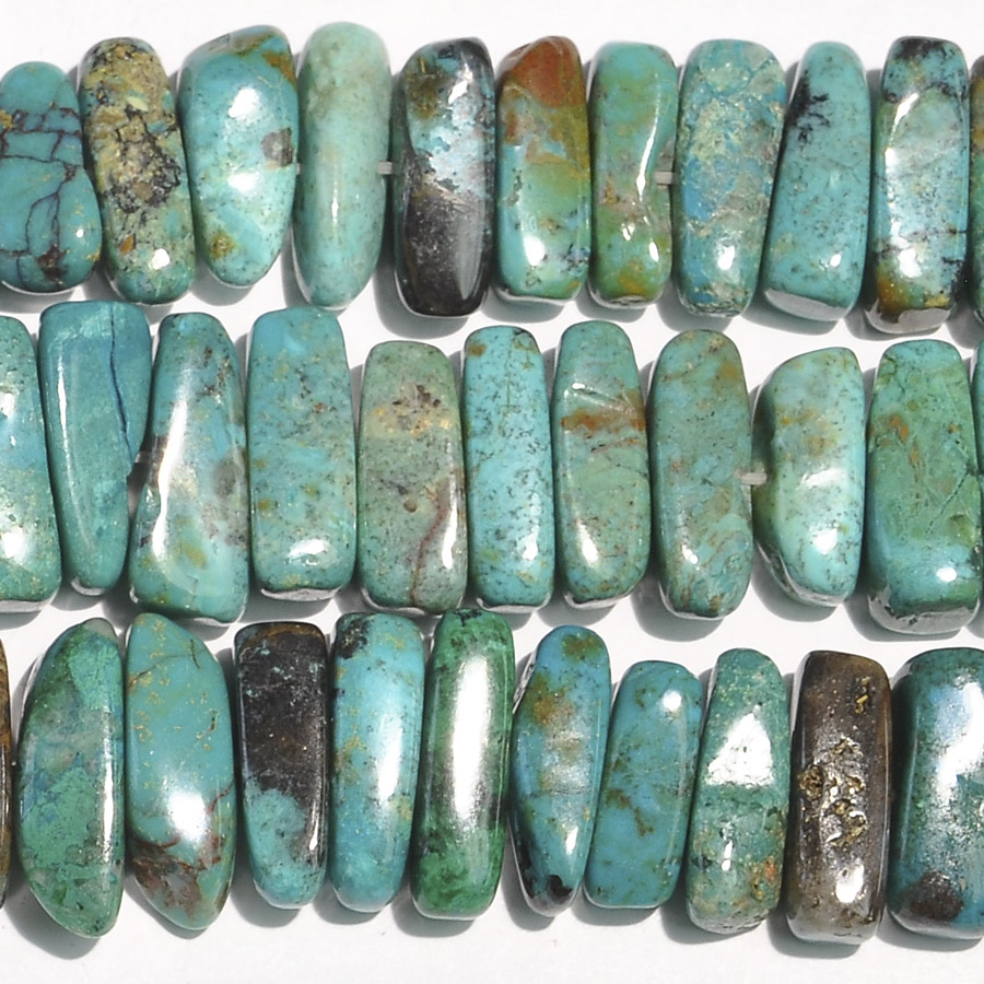 Chrysocolla 5x15mm Flat Chip Beads - 8 Inch Strand