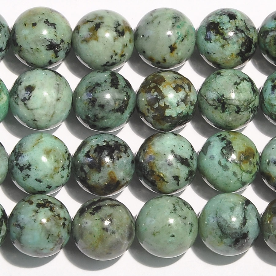 African Turquoise 10mm Round Beads - 8 Inch Strand