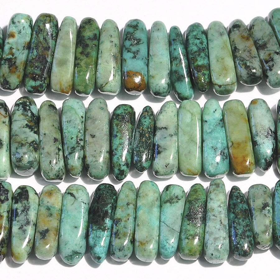 African Turquoise 5x15mm Flat Chip Beads - 8 Inch Strand: Wire ...