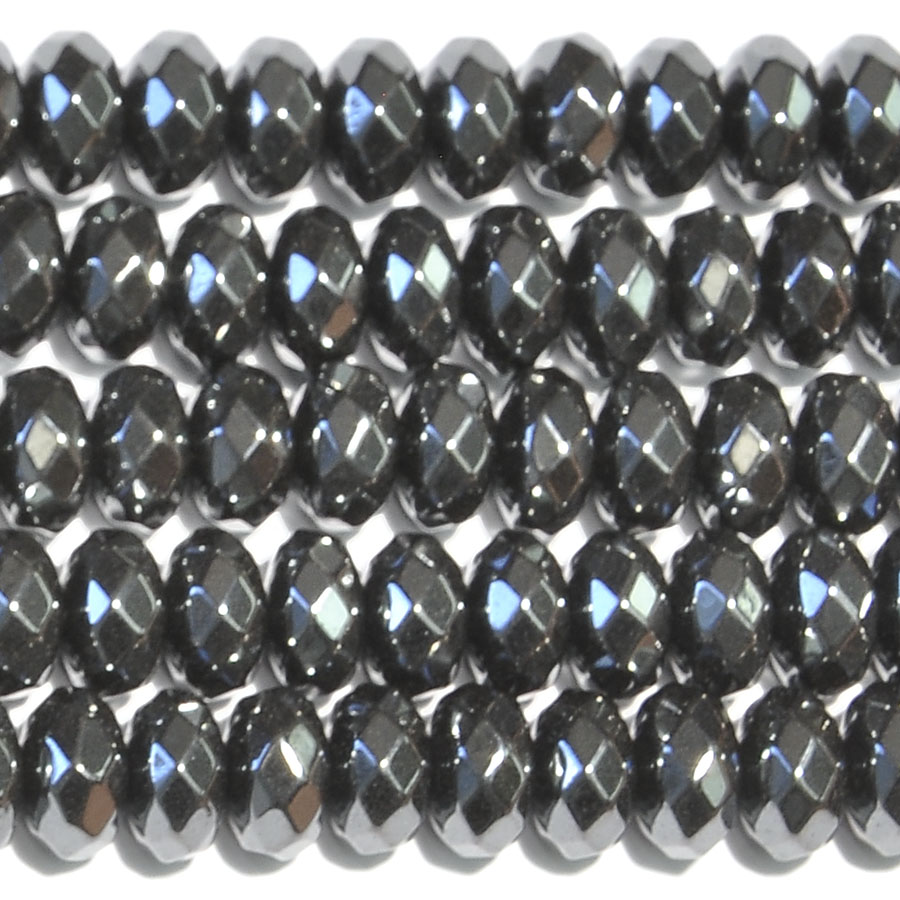 Hematite 8mm Faceted Rondelle Beads - 8 Inch Strand