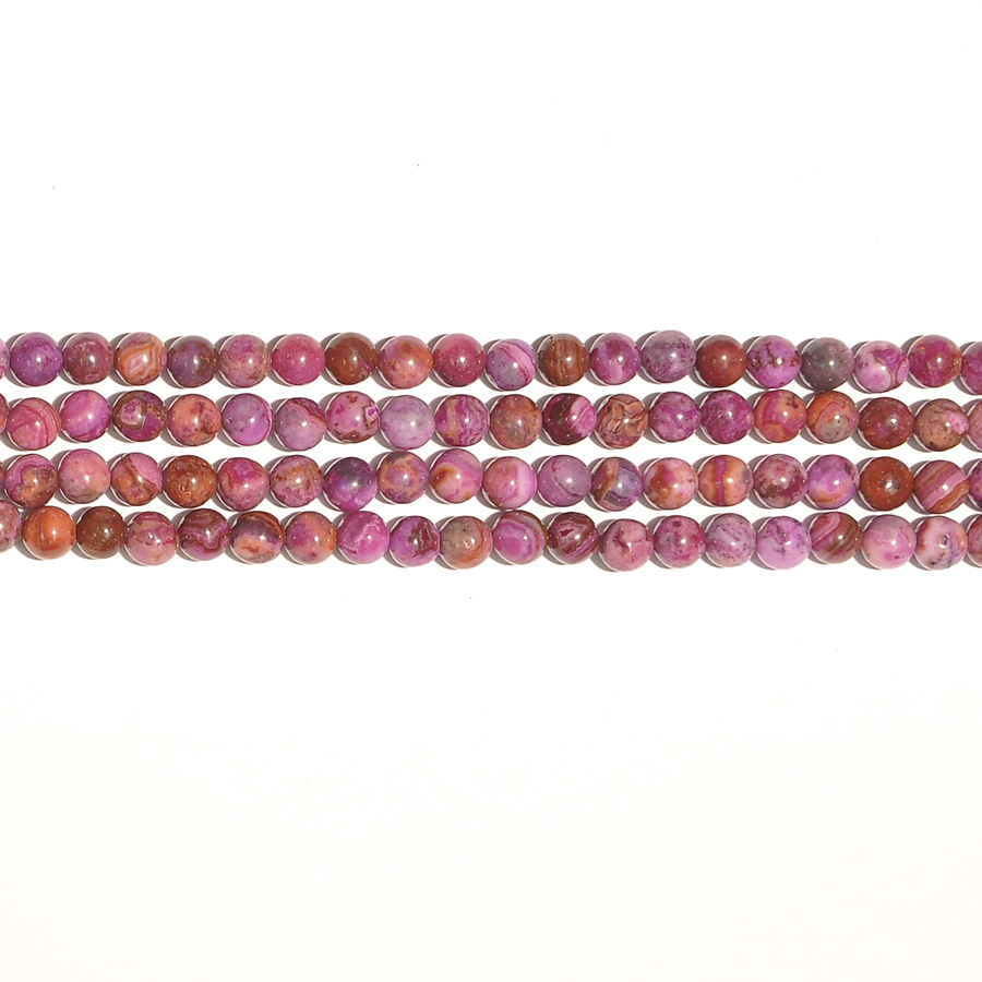 Pink Crazy Lace 6mm Round Beads - 8 Inch Strand