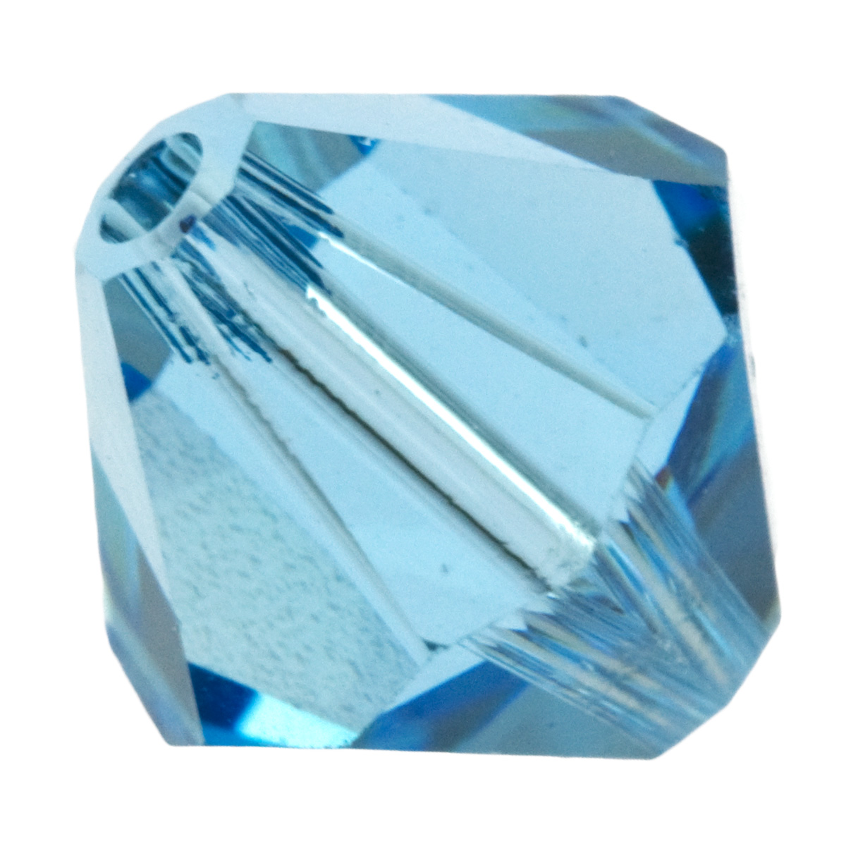 6mm Aquamarine 5301 Bi-Cone Swarovski Crystal Beads - Pack of 10