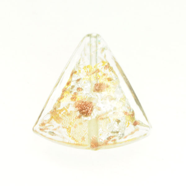 Luna Triangle Crystal/Aventurina/Yellow Gold/Silver Foil, Size 20mm