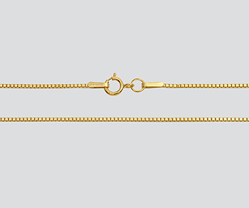 Gold Filled Box Chain 1.0mm - 18 inches - Pack of 1