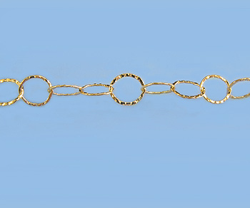 Gold Filled Chain Flat Diamond Cut Pattern  7x8mm - 10 Feet