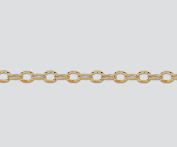 Gold Filled Hammered Flat Oval Cable Chain 6x4.5mm - 10 Feet