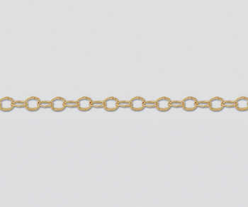 Gold Filled Hammered Flat Oval Chain 5.3x3.5mm - 10 Feet