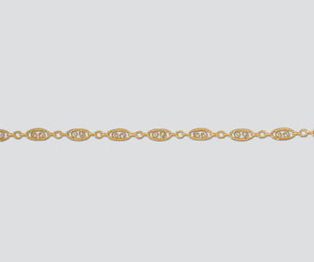 Gold Filled Oval Filigree Long & Short Chain 7.8x3.4mm - 10 Feet