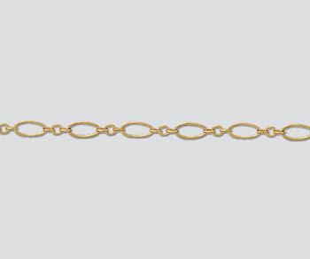 Gold Filled Oval Long & Short Chain 7.5x3.5mm - 10 Feet