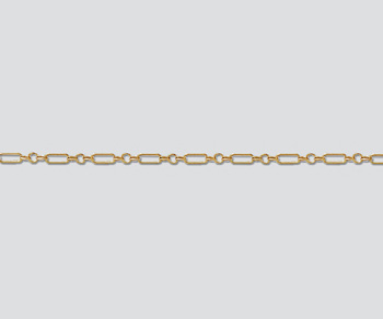 Gold Filled Rectangular Long & Short Chain 4.7x1.6mm - 10 Feet