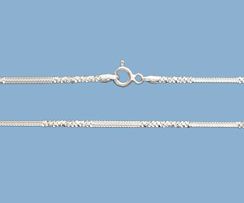 Sterling Silver Alternate Cross Chain 1.4mm 24 inch - Pack of 1