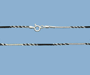Sterling Silver Alternate Cross Chain 2 Tone (Gun Metal / Silver) 1.4mm 18 inch - Pack of 1