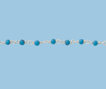 Sterling Silver  Chain  with  Turquoise  2 mm - 5 Feet