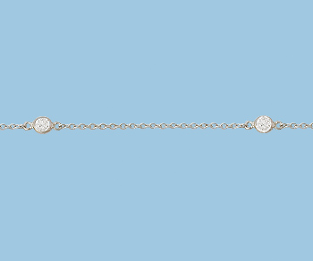 Sterling Silver  Chain  with Clear CZ  4mm Rhodium Plated - 10 Feet
