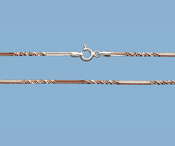 Sterling Silver Alternate Cross Chain 2 Tone (Rose / Silver) 1.4mm 20 inch - Pack of 1