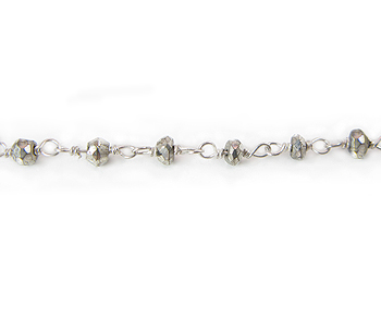 Sterling Silver  Chain w/ Stone Pyrite 3-4mm - 5 Feet