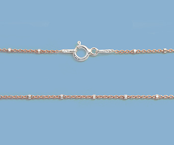 Sterling Silver Chain 2 Tone (Rose / Silver) 1x1.5mm 18 inch - Pack of 1