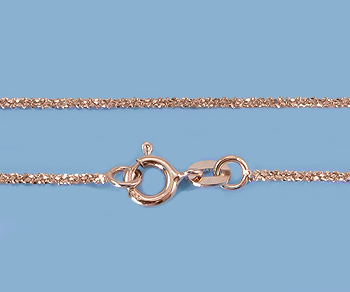 Sterling Silver Chain Dia Cut Rope ( Rose Plated) 1.4mm 18 inch - Pack of 1