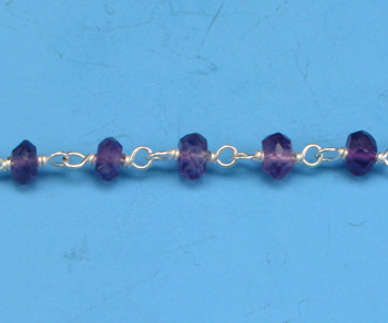 Sterling Silver Chain w/ Amethyst Stone 3-4mm - 5 Feet