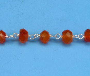 Sterling Silver Chain w/ Carnelian Stone 3-4mm - 5 Feet