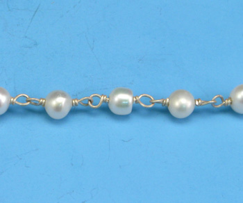Sterling Silver Chain w/ Pearls 3-4mm - 5 Feet