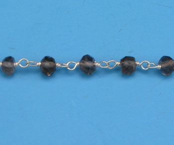 Sterling Silver Chain w/ Stone Smokey Quartz 3 - 4mm - 5 Feet