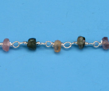 Sterling Silver Chain w/ Stone Tourmaline 3 - 4mm - 5 Feet