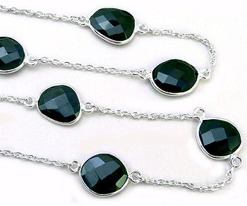 Sterling Silver Chain w/Bezelled Black Spinel 10.6x12.1 to 11.8x13.2mm - 1 Foot
