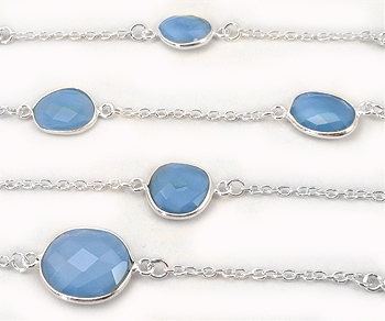 Sterling Silver Chain w/Bezelled Blue Onyx 8.5x10.2 to 13.4x16.4mm - 1 Foot