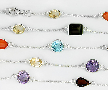Sterling Silver Chain w/Bezelled Multi Semi Precious Stones 36in. (6.8x7 to 8.7x11.2mm) - 3 Feet