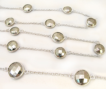 Sterling Silver Chain w/Bezelled Pyrite 9.1x9.4 to 11.6x11.9mm - 1 Foot