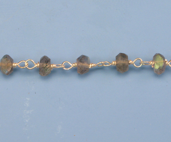 Sterling Silver Chain with Labradorite 3 - 4mm - 5 Feet