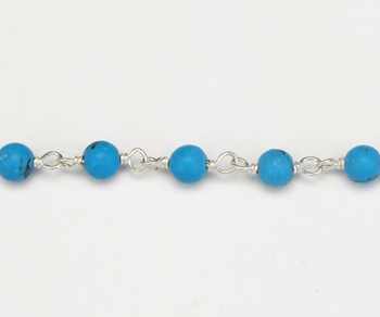 Sterling Silver Chain with Stone Turquoise 3mm - 5 Feet