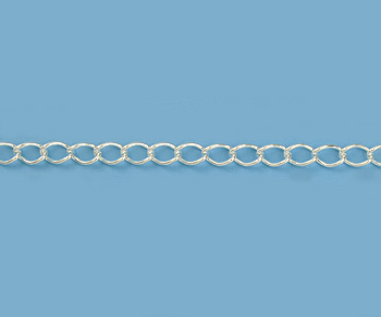 Sterling Silver Curb Chain 4x2.6mm - 10 Feet
