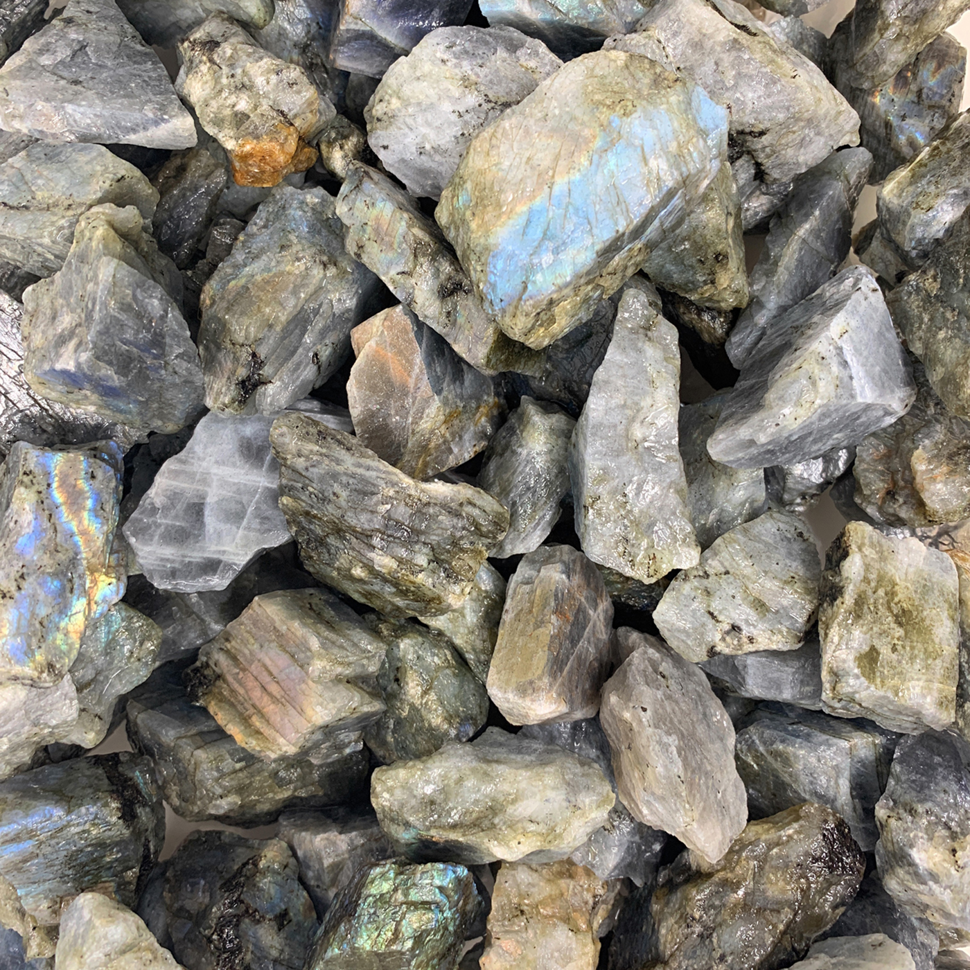 WireJewelry 3 lbs of Bulk Rough Labradorite Stone - Large Natural Rough Stone and Crystals for Tumbling