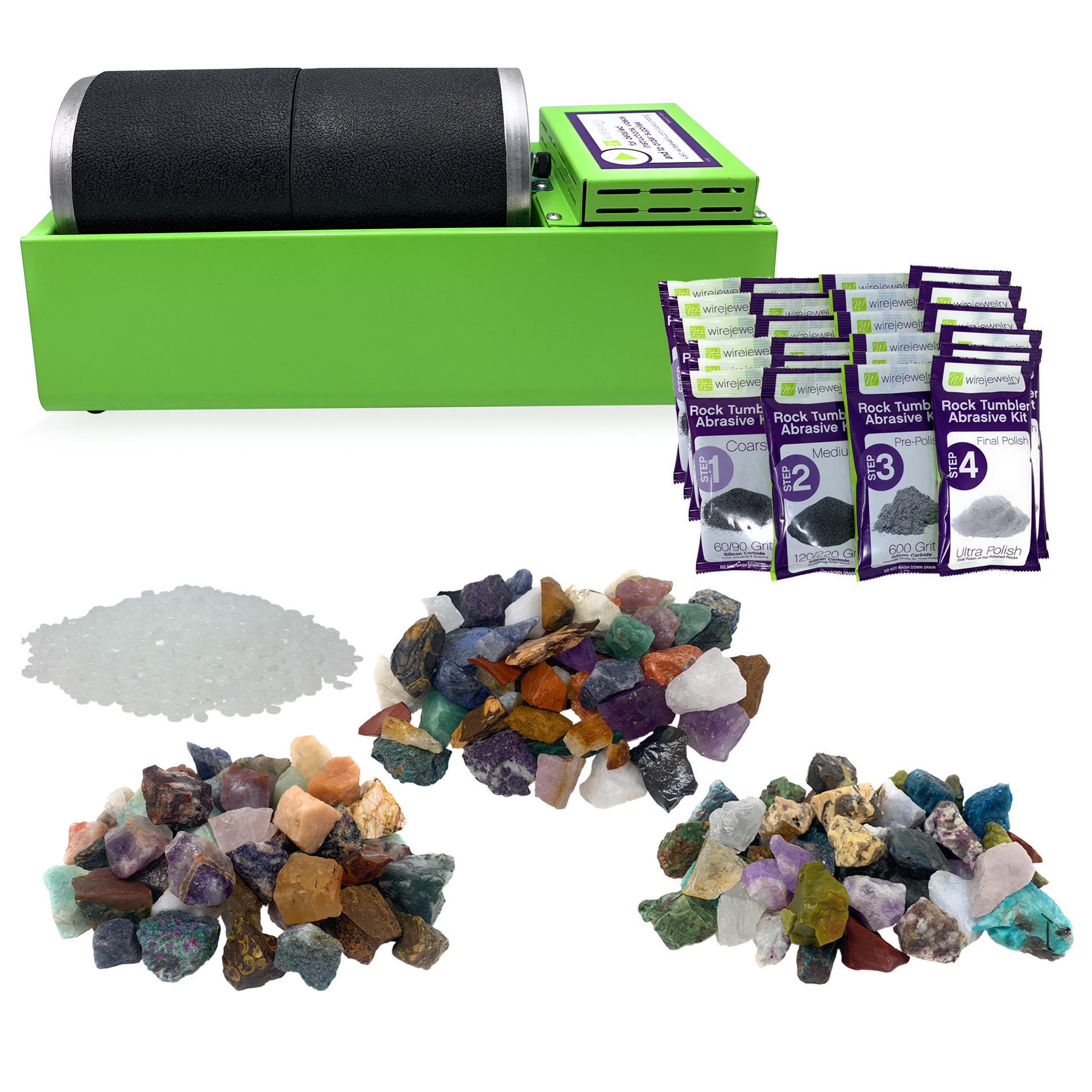 WireJewelry Double Barrel Rotary Rock Tumbler World Mix Deluxe Kit, Includes 3 Lbs of Stone from each Location (Asia, Brazil and Madagascar) and 6 Batches of 4 Step Grit & Polish with Plastic Pellets