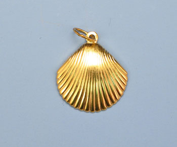 Gold Filled Charm  Large Shell 15mm w/Ring - Pack of 1