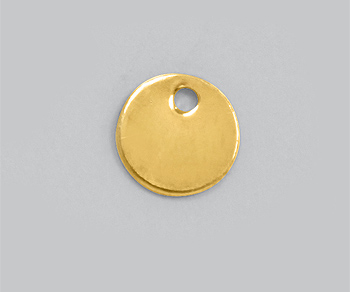 Gold Filled Charm Round Flat Disc w/Hole 6mm (Thick: 0.52mm) - Pack of 1