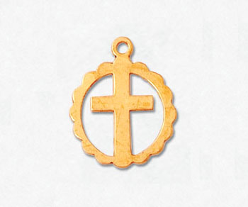 Gold Filled Charm Cross / Circle 13mm - Pack of 1
