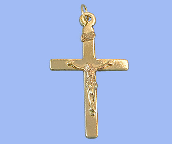 Gold Filled Charm Cross w/Ring 17.5x26mm - Pack of 1