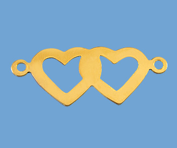 Gold Filled Charm Double Hearts with Cutout 9x23mm - Pack of 1
