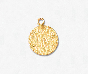 Gold Filled Charm Flat Hammered Round 10mm - Pack of 1