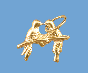 Gold Filled Charm Love Birds 9mm w/ Ring - Pack of 1