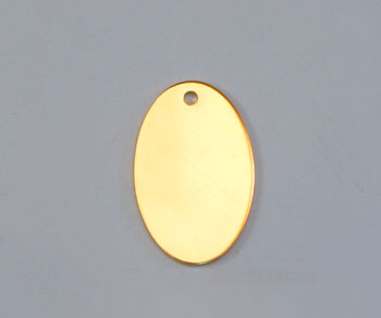 Gold Filled Charm Oval Flat w/Hole 9x14mm - Pack of 1
