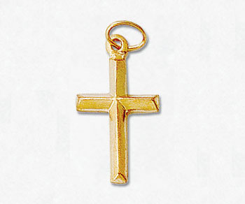 Gold Filled Charm Puff Cross 10x14mm w/Ring - Pack of 1