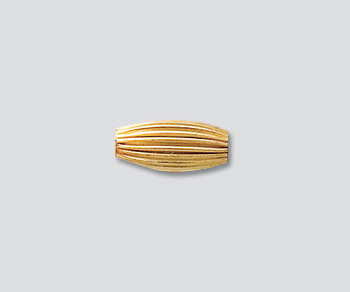 Gold Filled Bead Corrugated Oval 4.5x10mm - Pack of 1