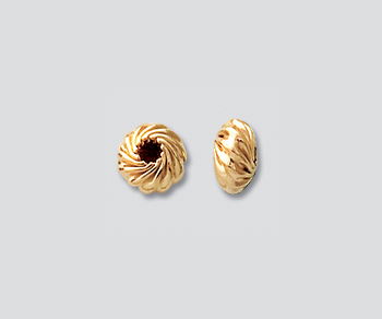 Gold Filled Twisted Roundels 6mm - Pack of 2