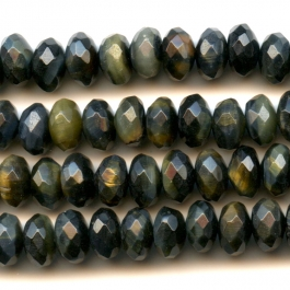 Blue Tiger Eye 8mm Faceted Rondelle Beads - 8 Inch Strand