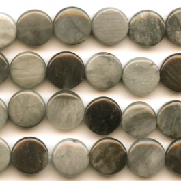 Cat's Eye 12mm Coin Beads - 8 Inch Strand